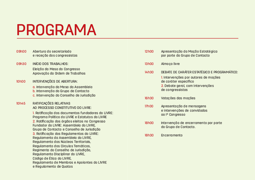 Programa do Iº Congresso do LIVRE