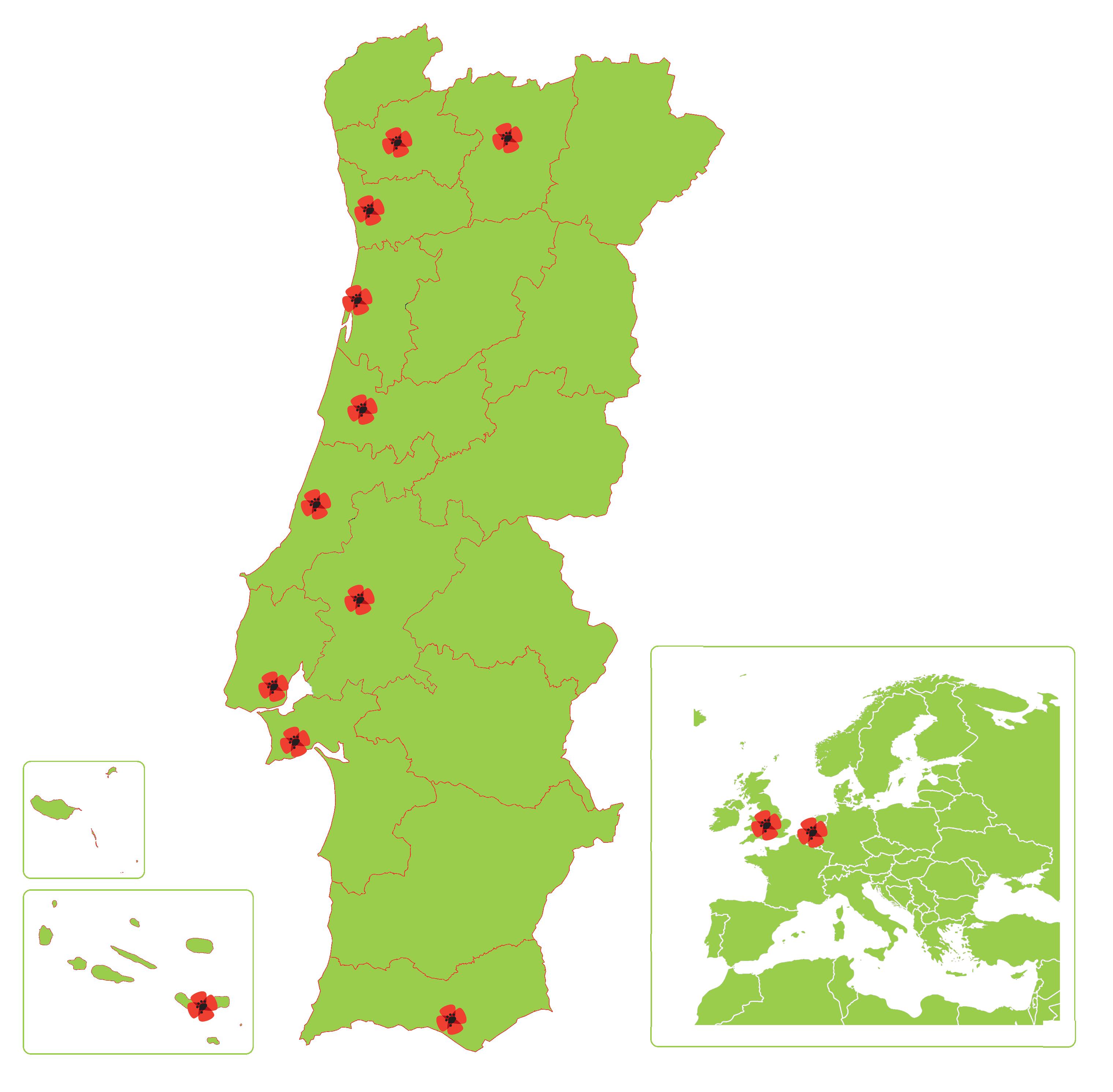 mapa dos Núcleos Territoriais (fevereiro 2015)
