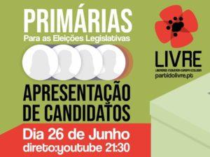 26 junho: Sessão de apresentação dos candidatos às primárias